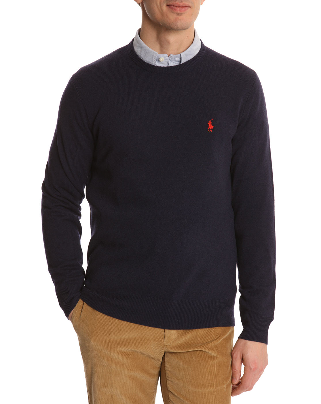 Polo Ralph Lauren | Blue Navy Wool Round Neck Sweater for Men | Lyst