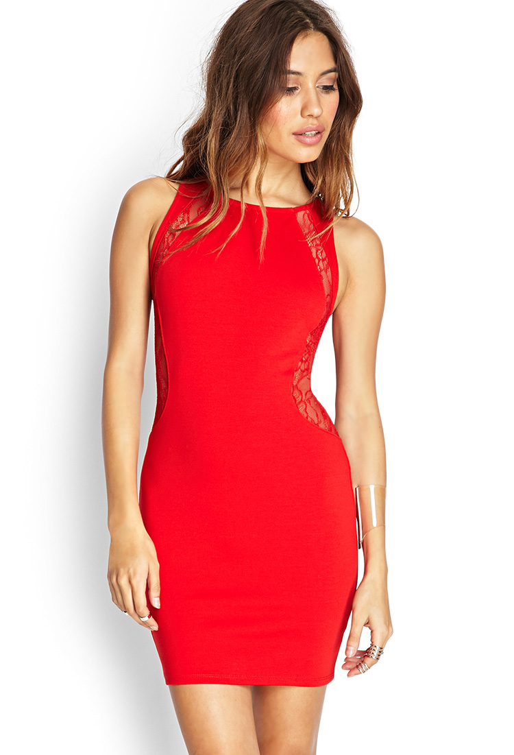 forever 21 lace paneled bodycon dress in red redred lyst