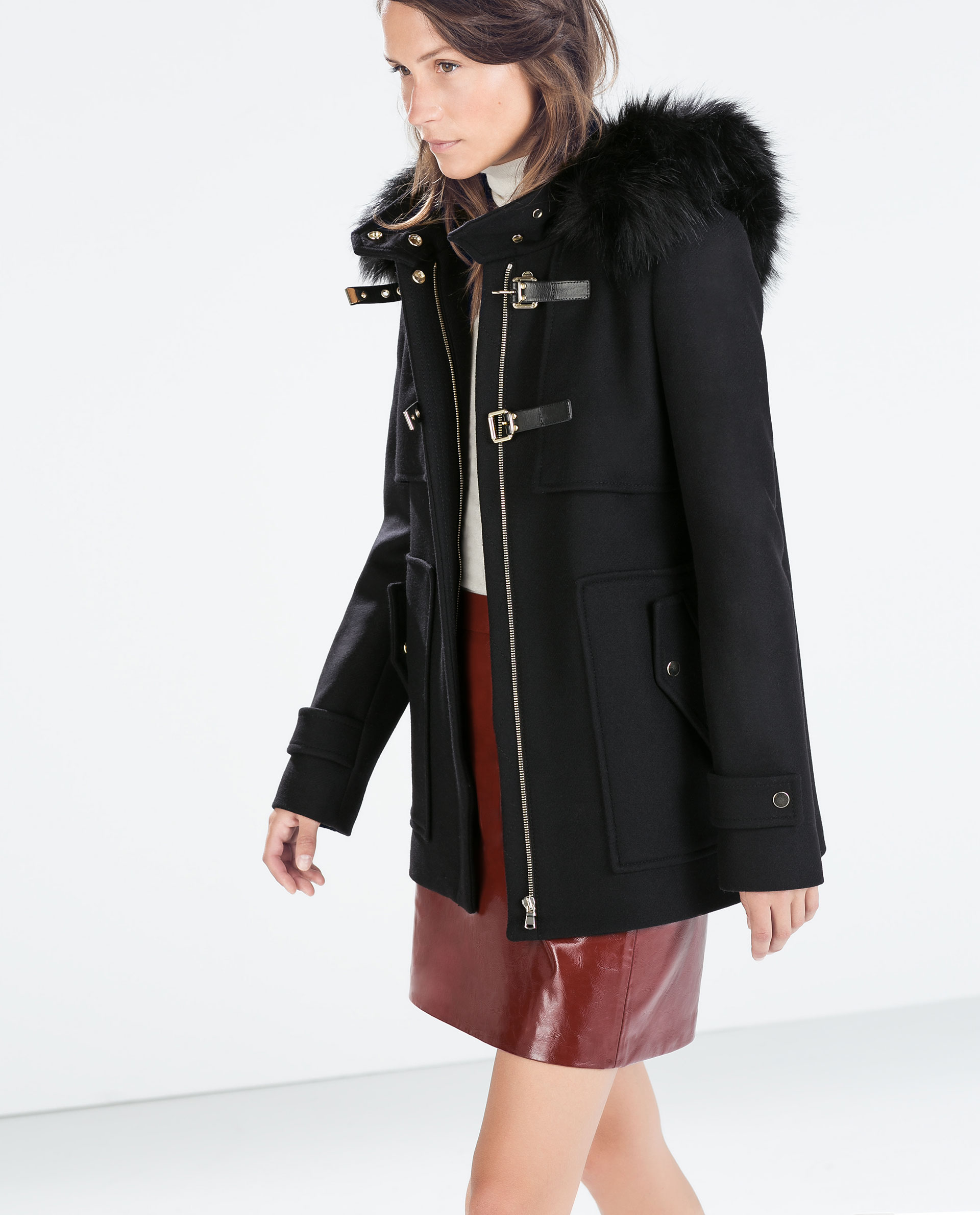 Zara Duffle Coat With Faux Fur Hood in Black | Lyst