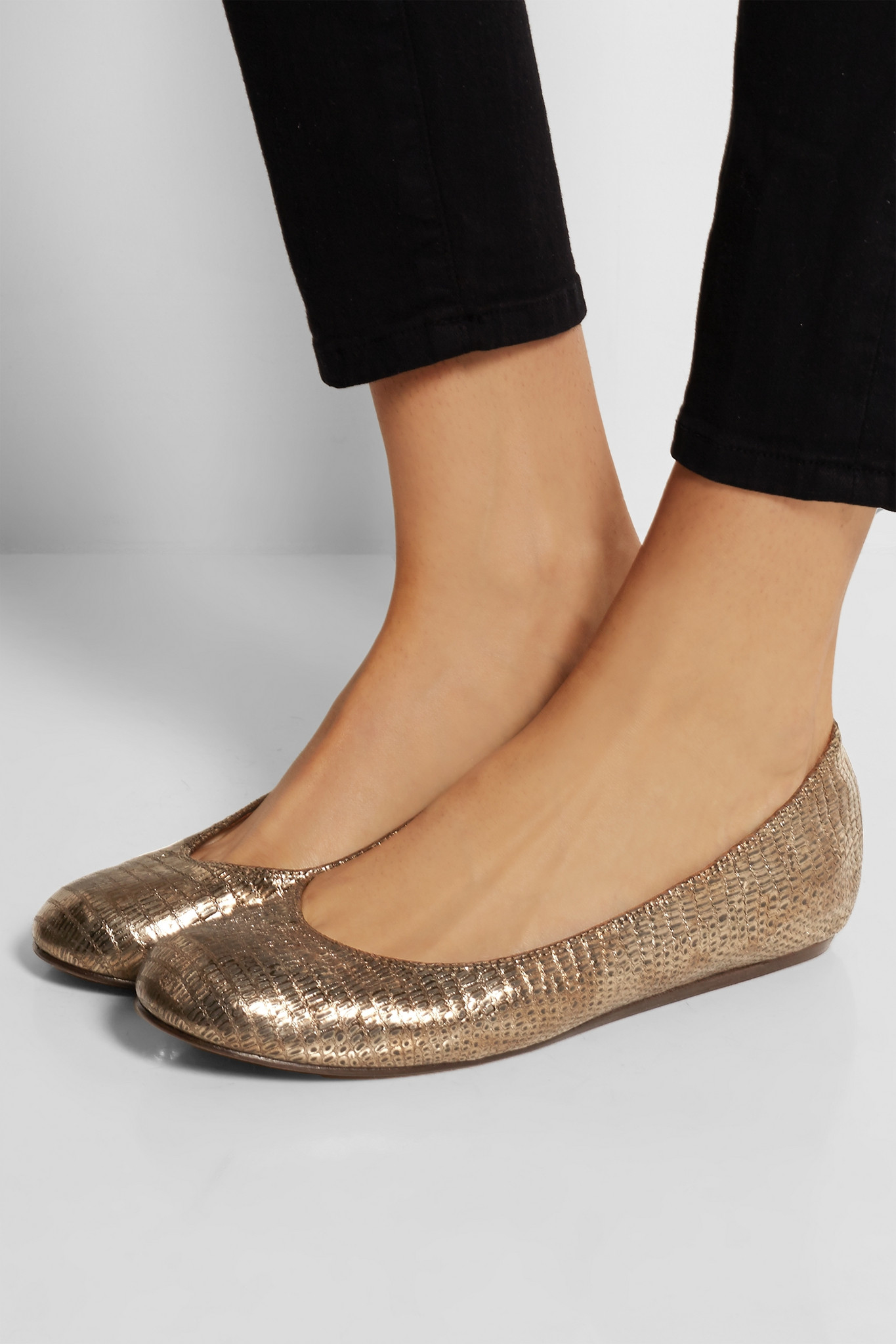 Lanvin Metallic Lizard Effect Leather Ballet Flats In