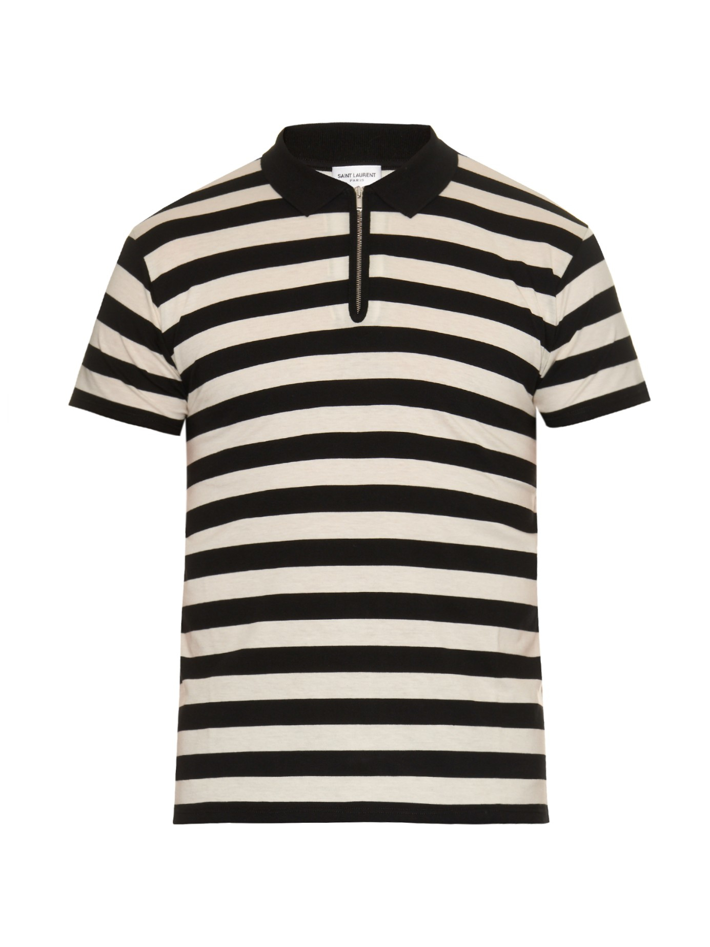 Lyst saint laurent striped cotton polo shirt in black for White shirt with black
