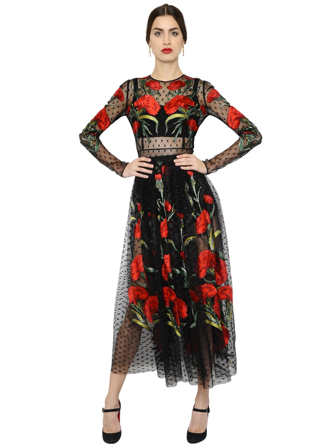 Dolce Amp Gabbana Floral Embroidered Swiss Dot Tulle Dress