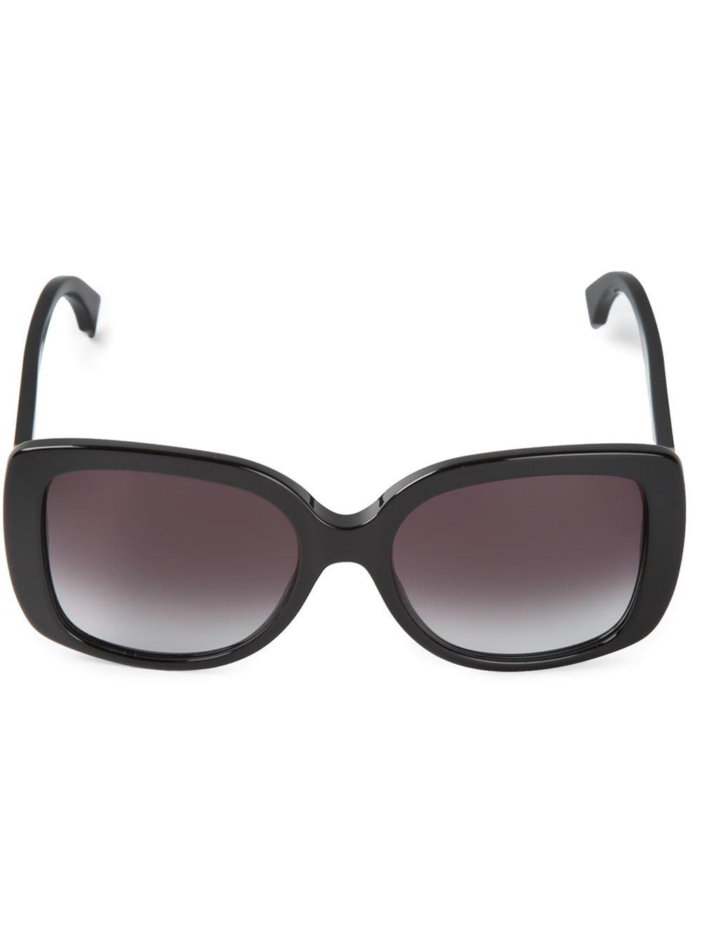 Fendi Rectangular Frame Sunglasses in Black Lyst