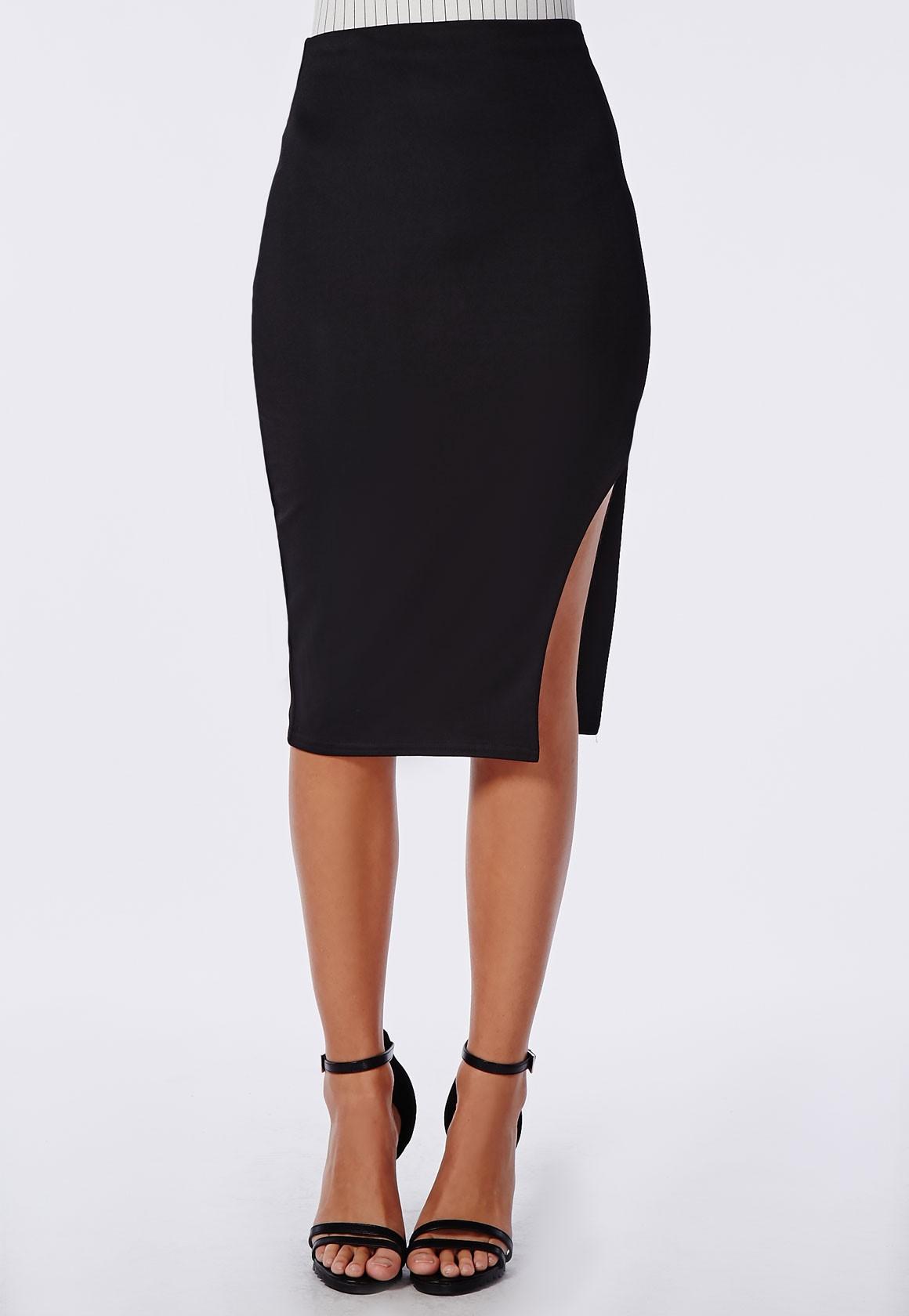 Missguided Side Split Crepe Midi Skirt Black in Black | Lyst