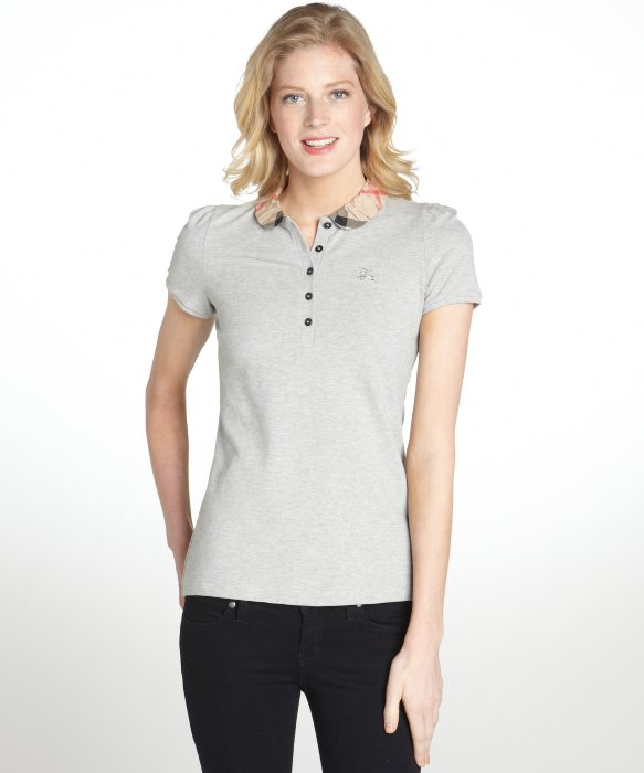 Burberry pale grey stretch cotton peter pan collar puff for White cotton shirt peter pan collar