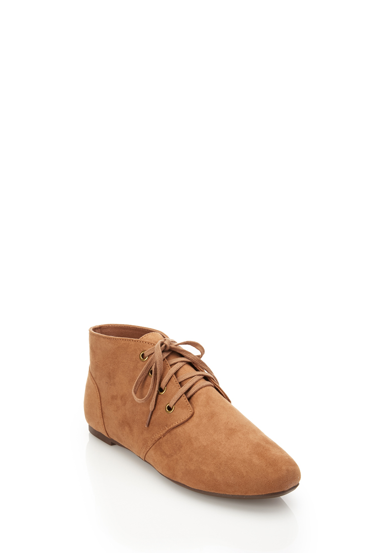 c11efc4a9477 Lyst - Forever 21 Faux Suede Chukka Boots in Brown