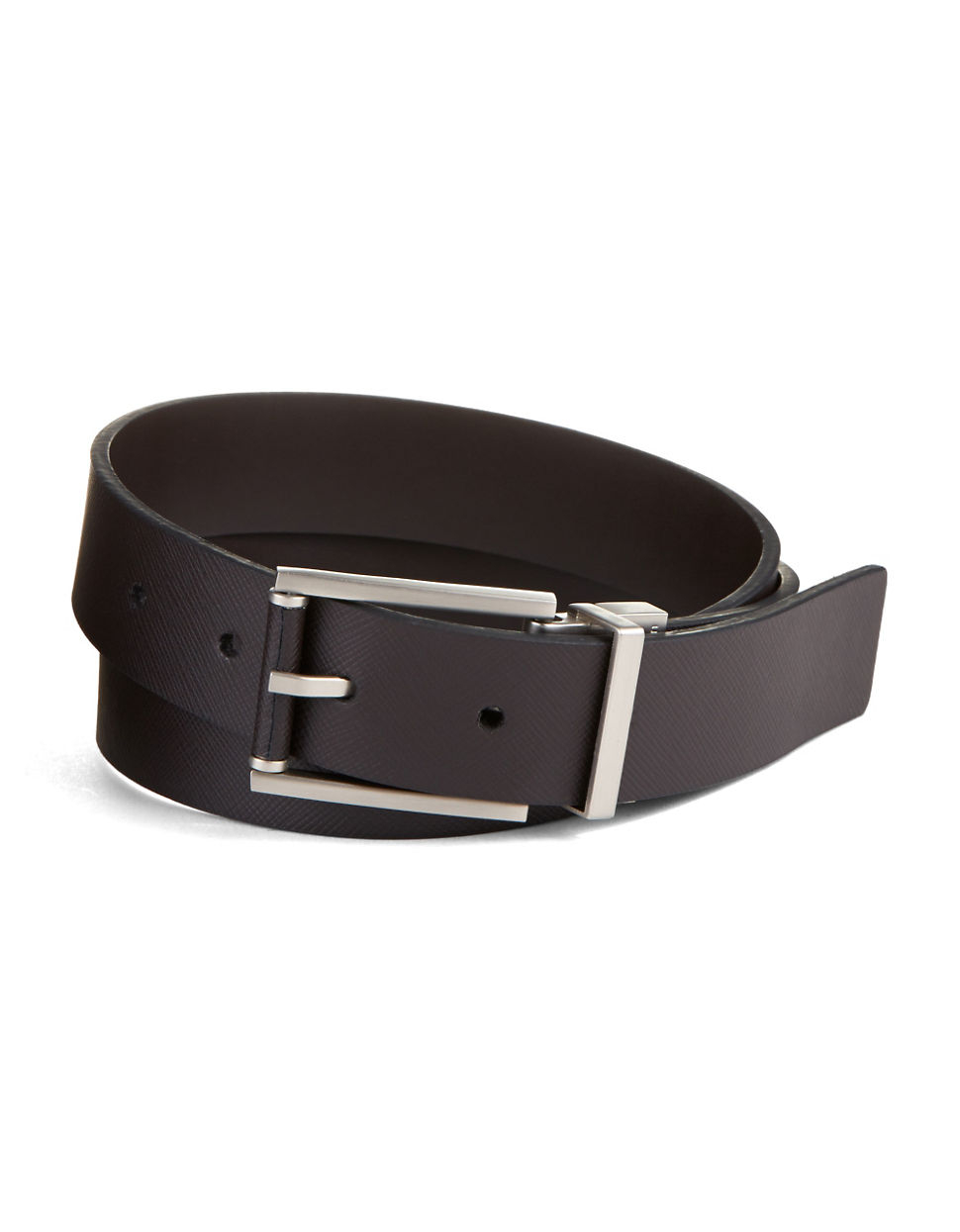 calvin klein reversible saffiano leather belt in brown for