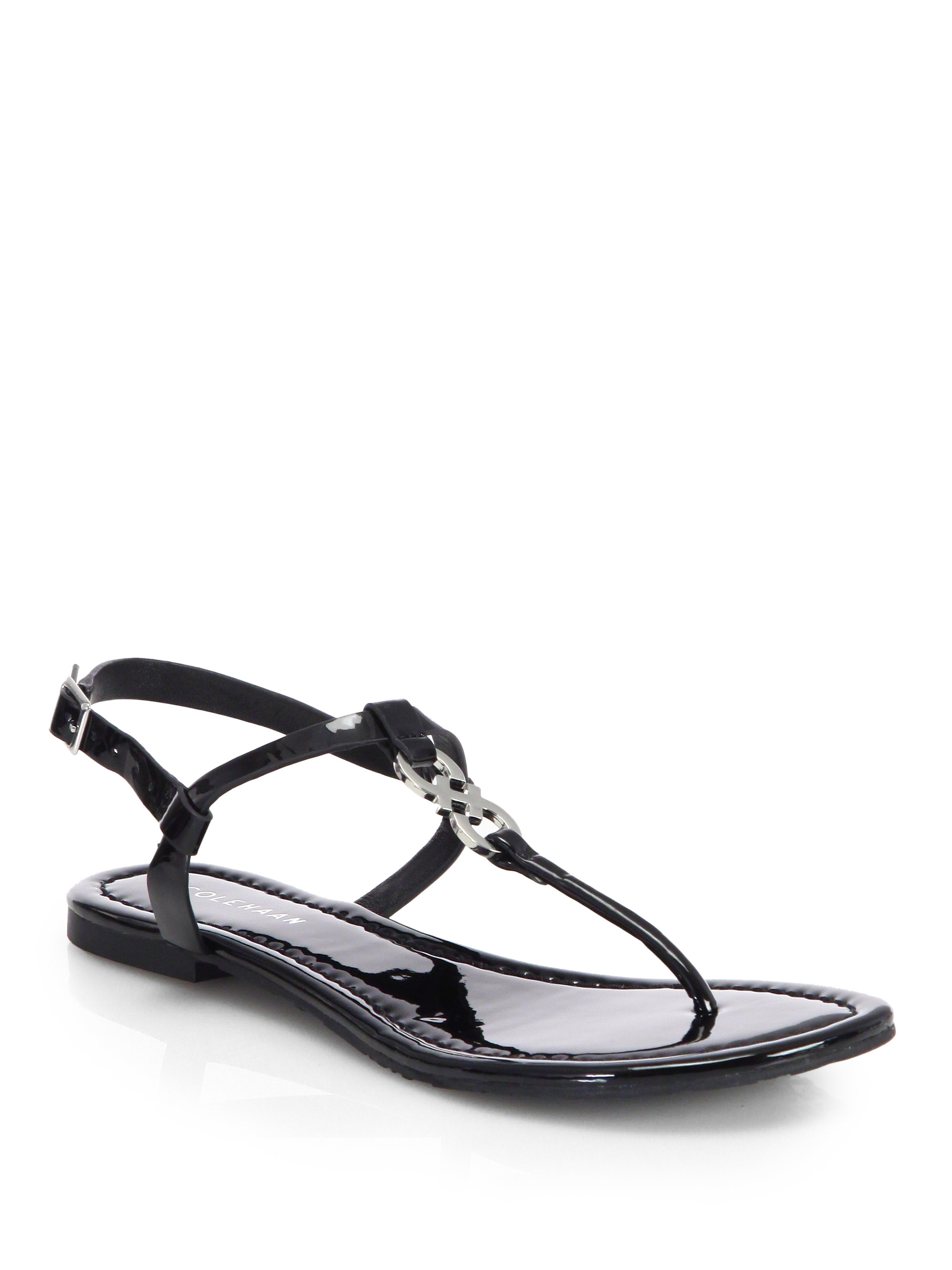 Lyst Cole Haan Ally Patent Leather Thong Sandals In Black