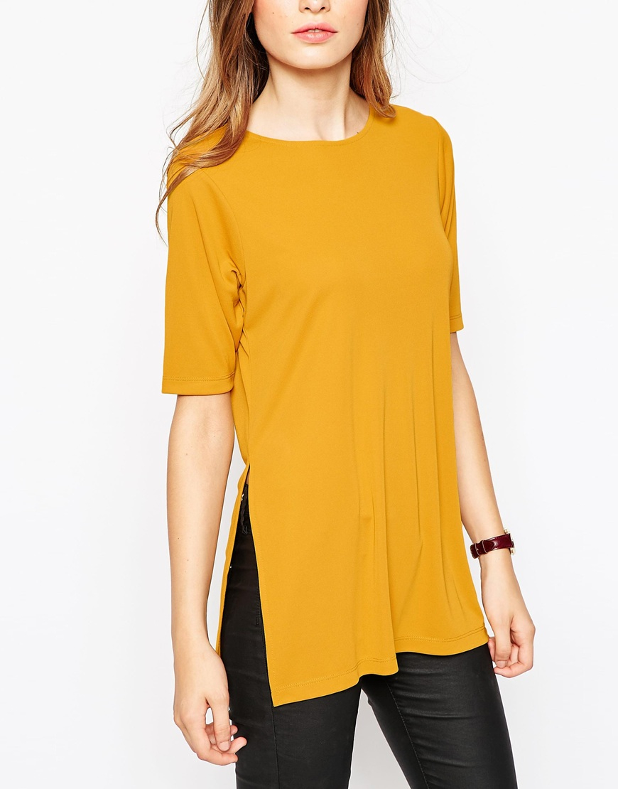 985cd22b18f ASOS Tunic Top In Crepe With Splits in Yellow - Lyst