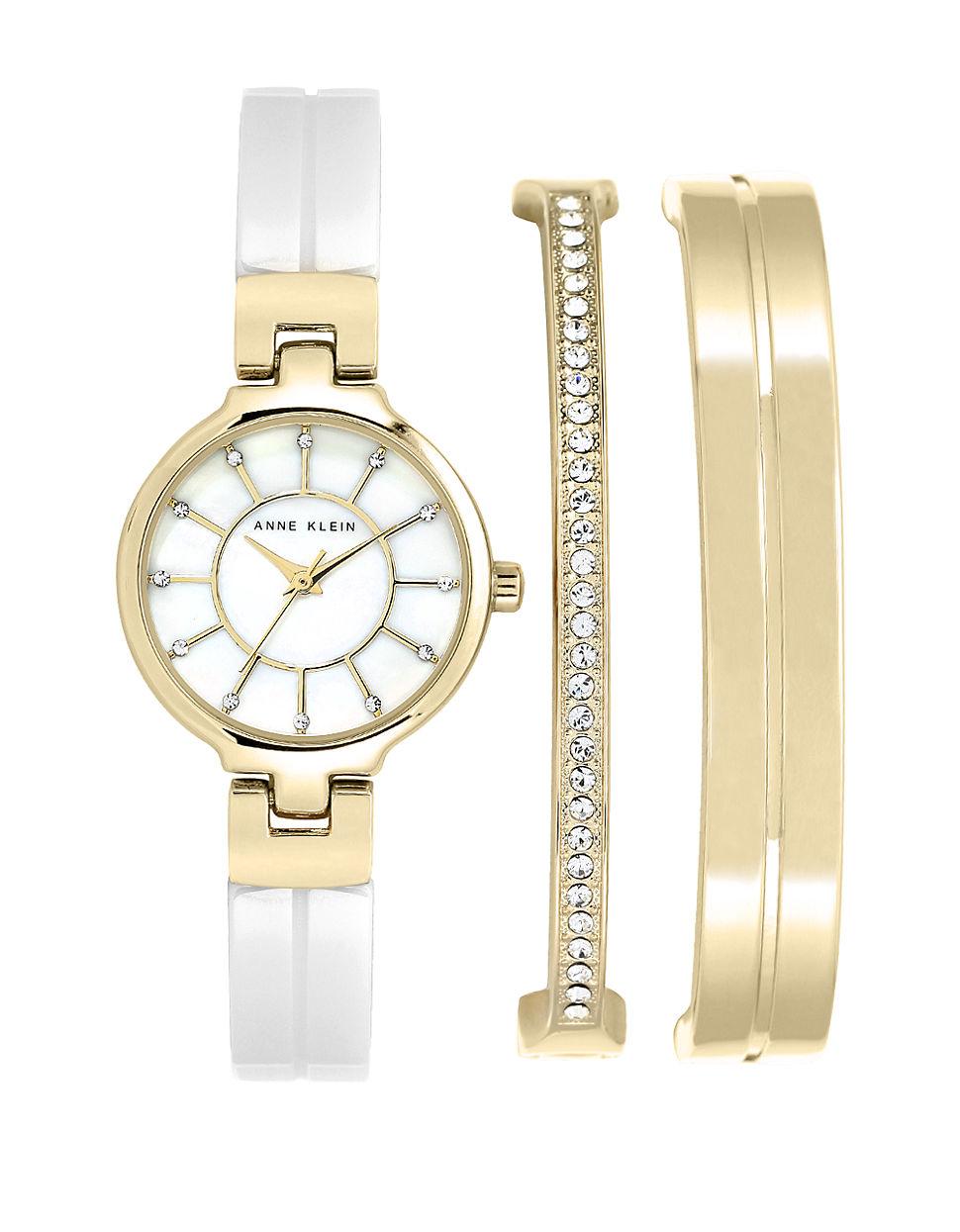 Lyst Anne Klein 3 Piece Swarovski Crystal Two Tone Watch