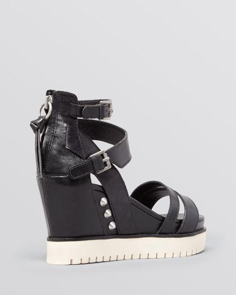 Ash Open Toe Platform Wedge Sandals Penelope In Black Lyst