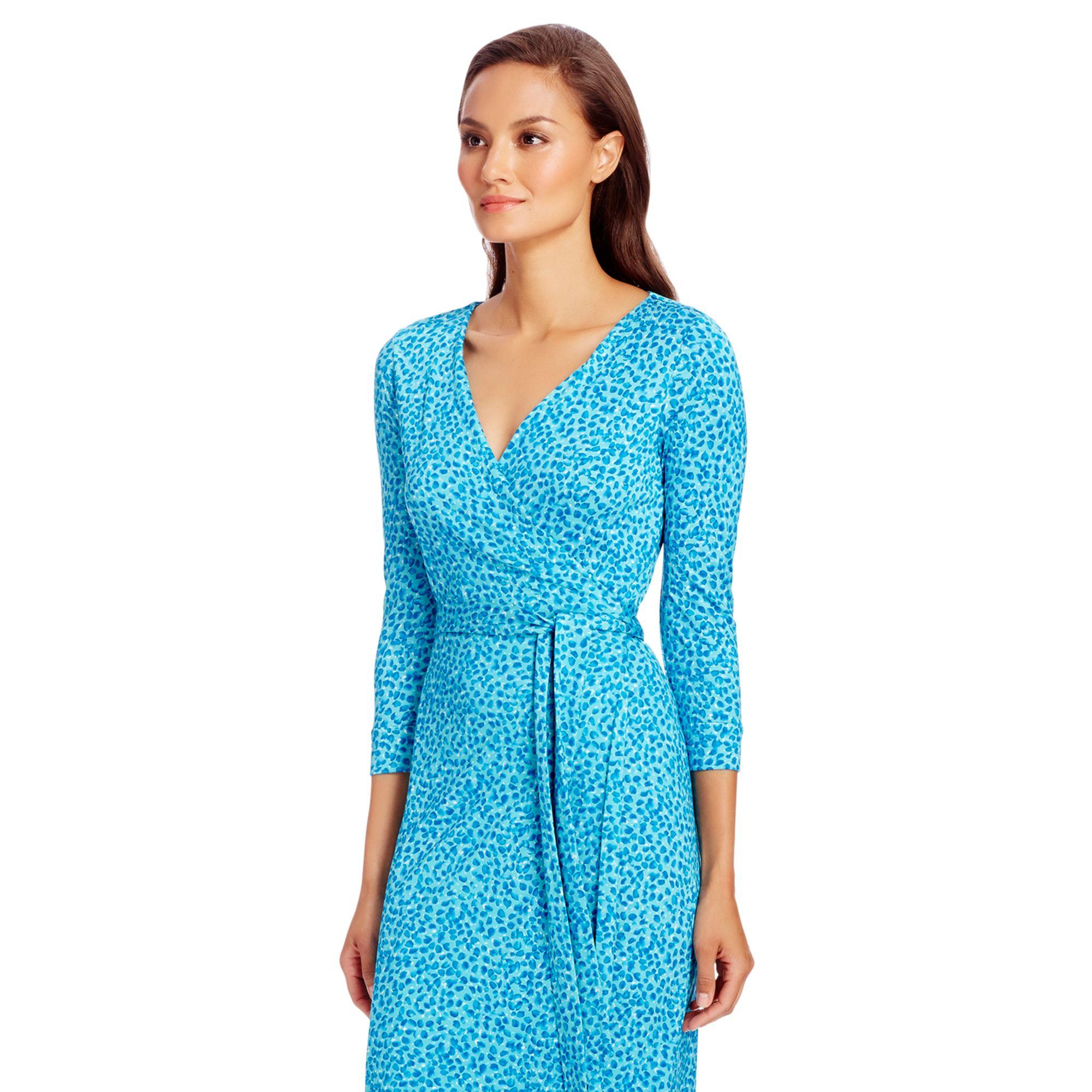 b8a8456877 Diane von Furstenberg New Julian Two Silk Jersey Wrap Dress in Blue ...