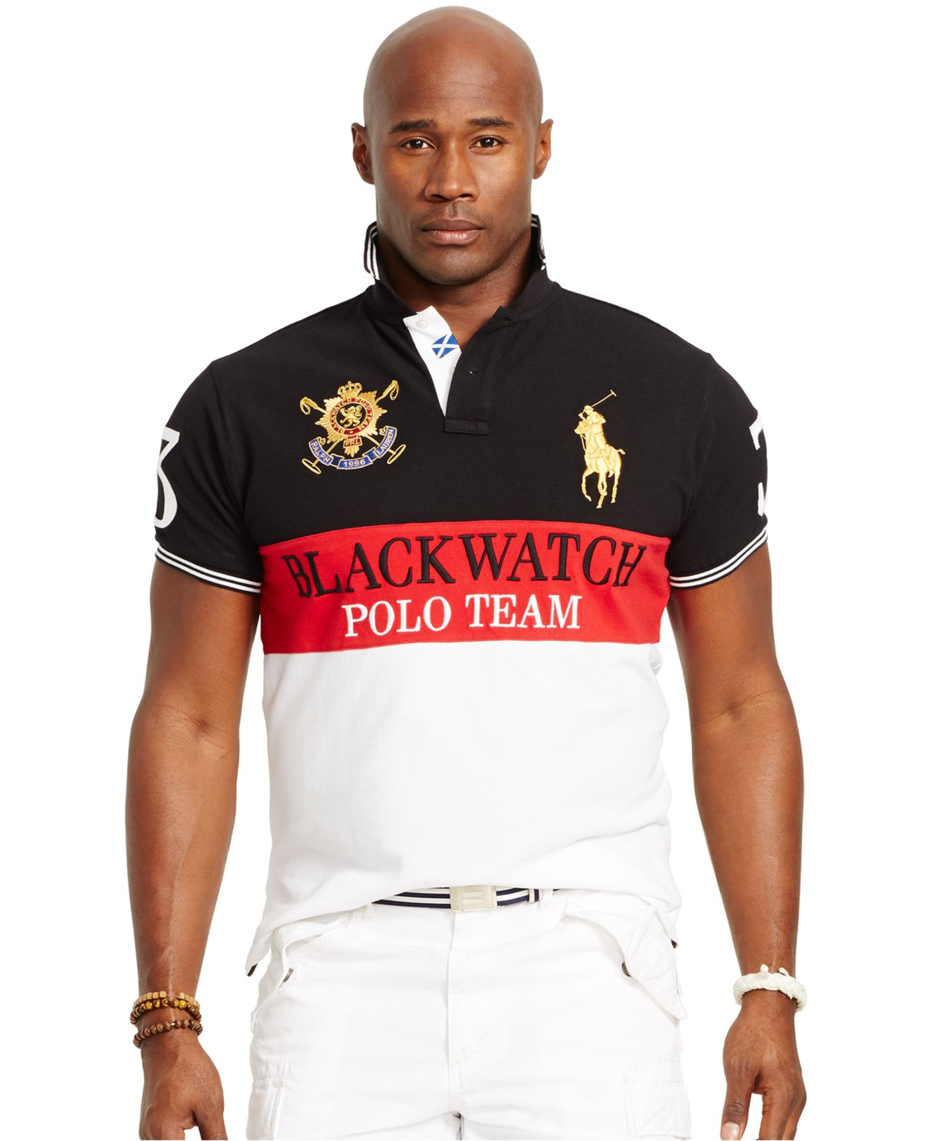 Big And Tall Black Watch Classic-Fit Color-Blocked Polo Shirt