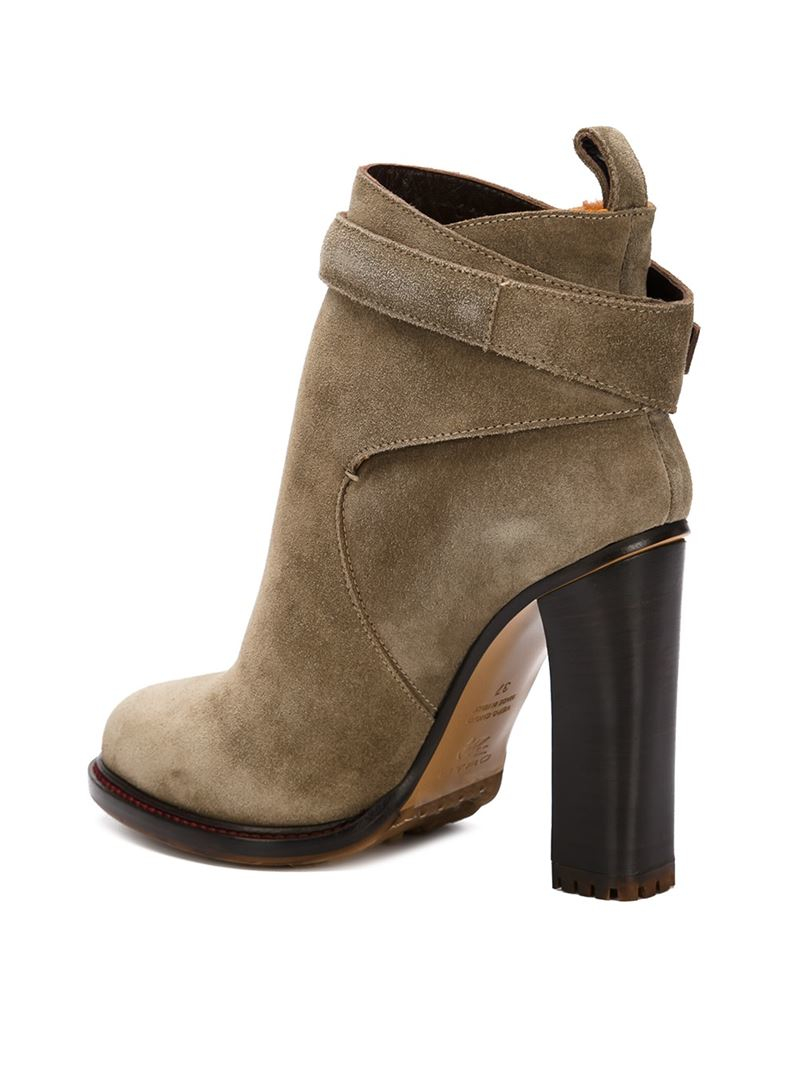 etro chunky heel ankle boots in lyst