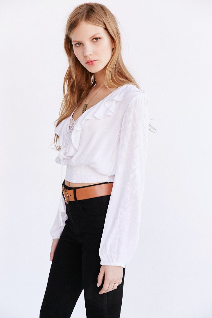 Lyst Kimchi Blue Tie Front Banded Bottom Blouse In White