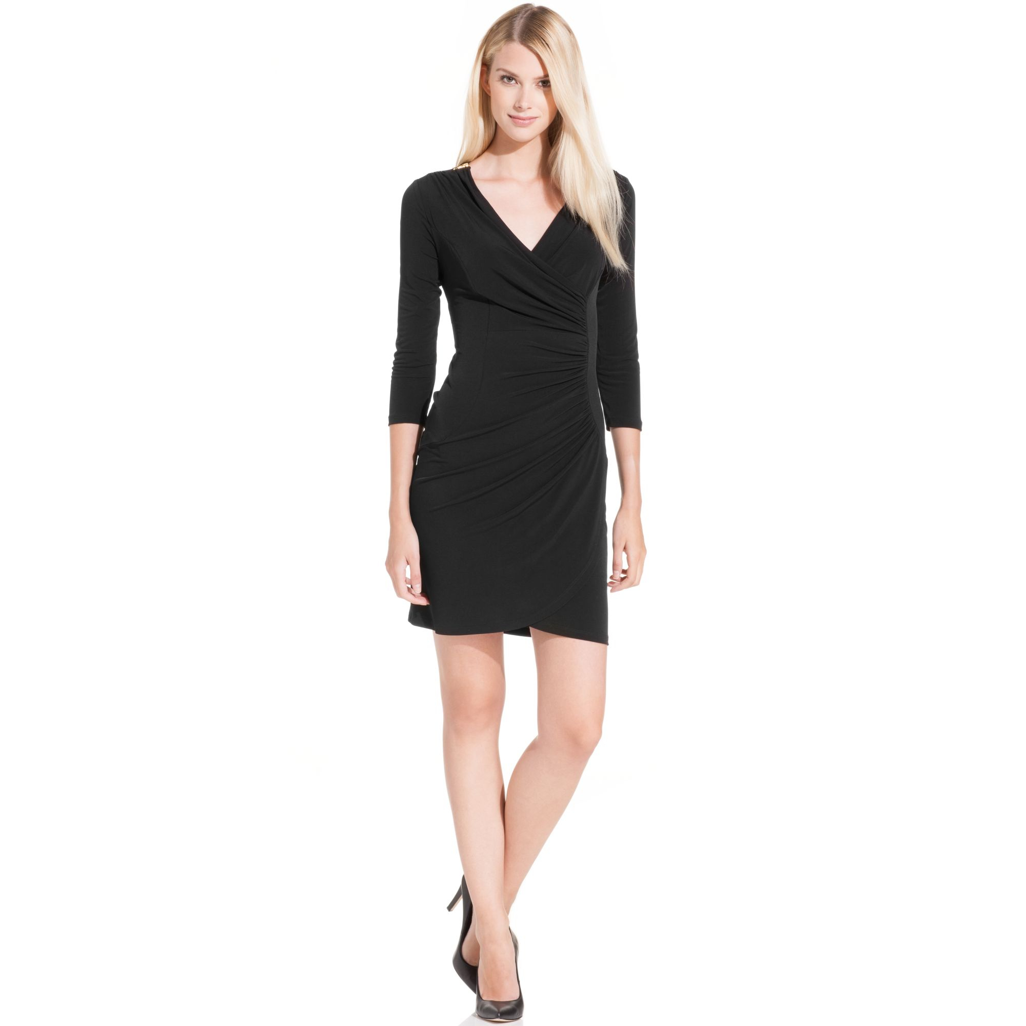 Lyst Calvin Klein Plus Size Threequartersleeve Ruched