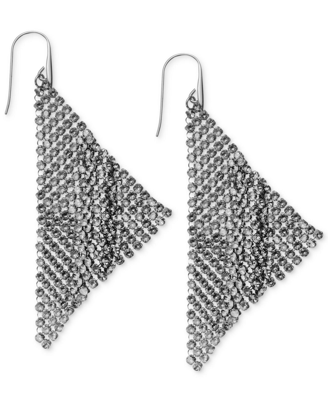 Swarovski Ruthenium Plated Black Crystal Mesh Drop Earrings In