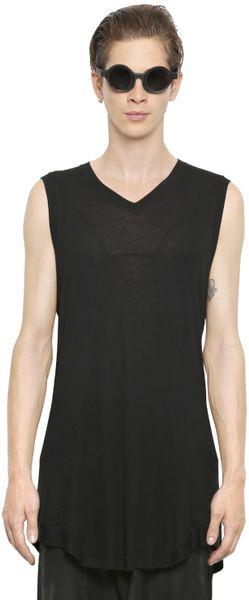 Julius Sleeveless Extra Long T Shirt In Black For Men Lyst