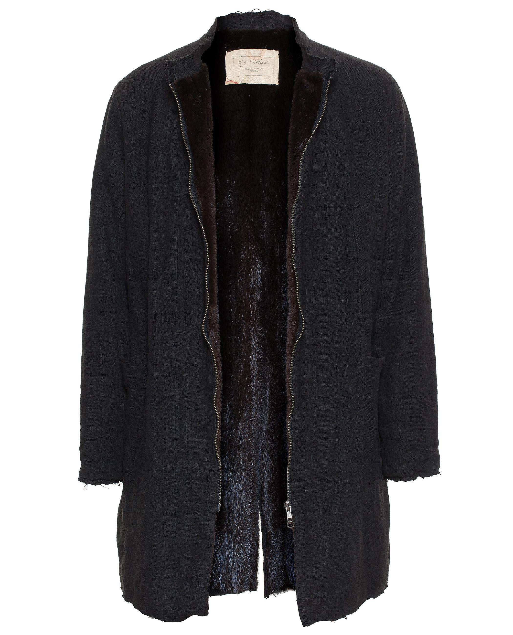 By walid Mink Fur Lined Long Twist Coat in Black for Men | Lyst