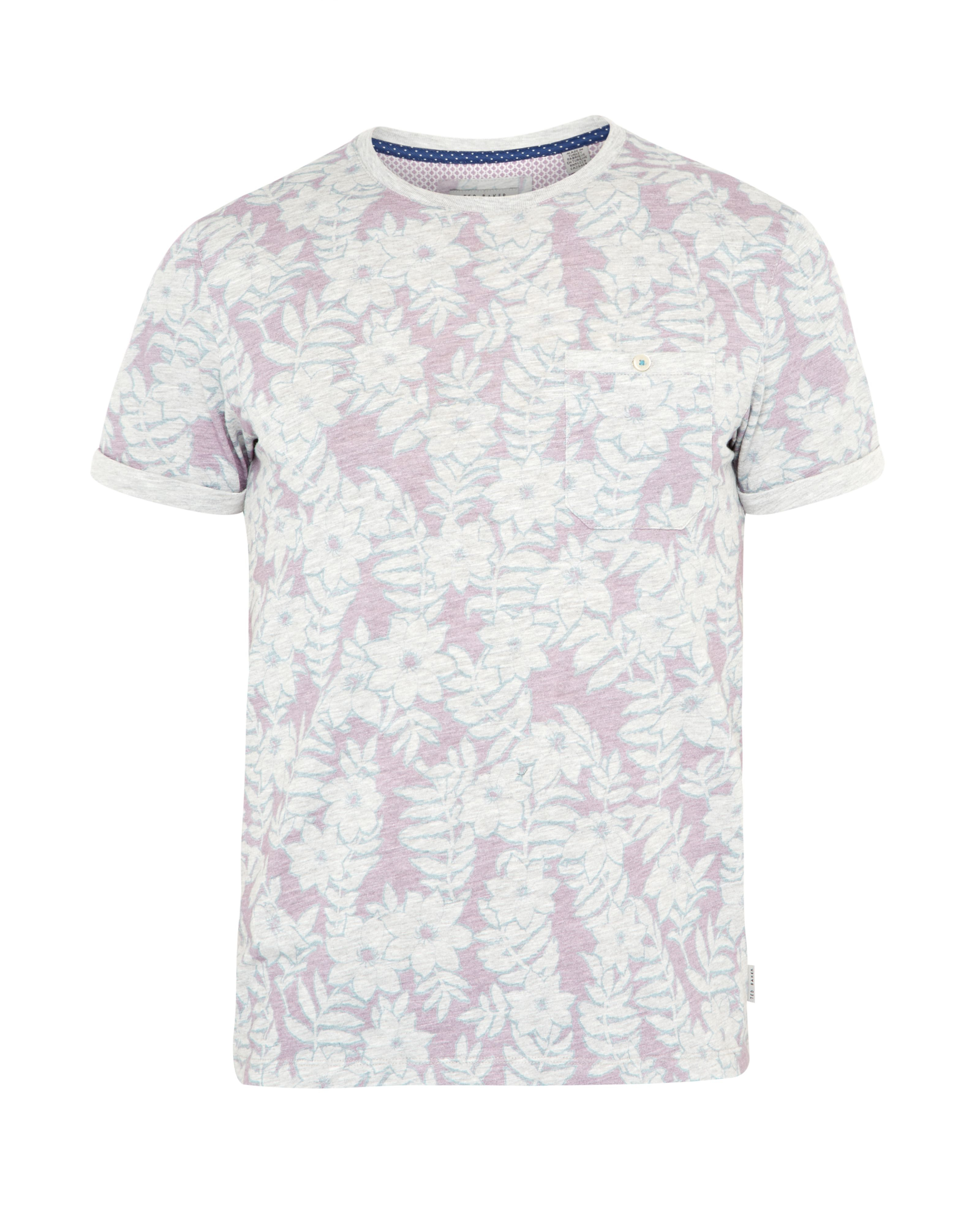Ted baker rootz floral cotton t shirt in purple for men lyst for Ted baker floral print shirt
