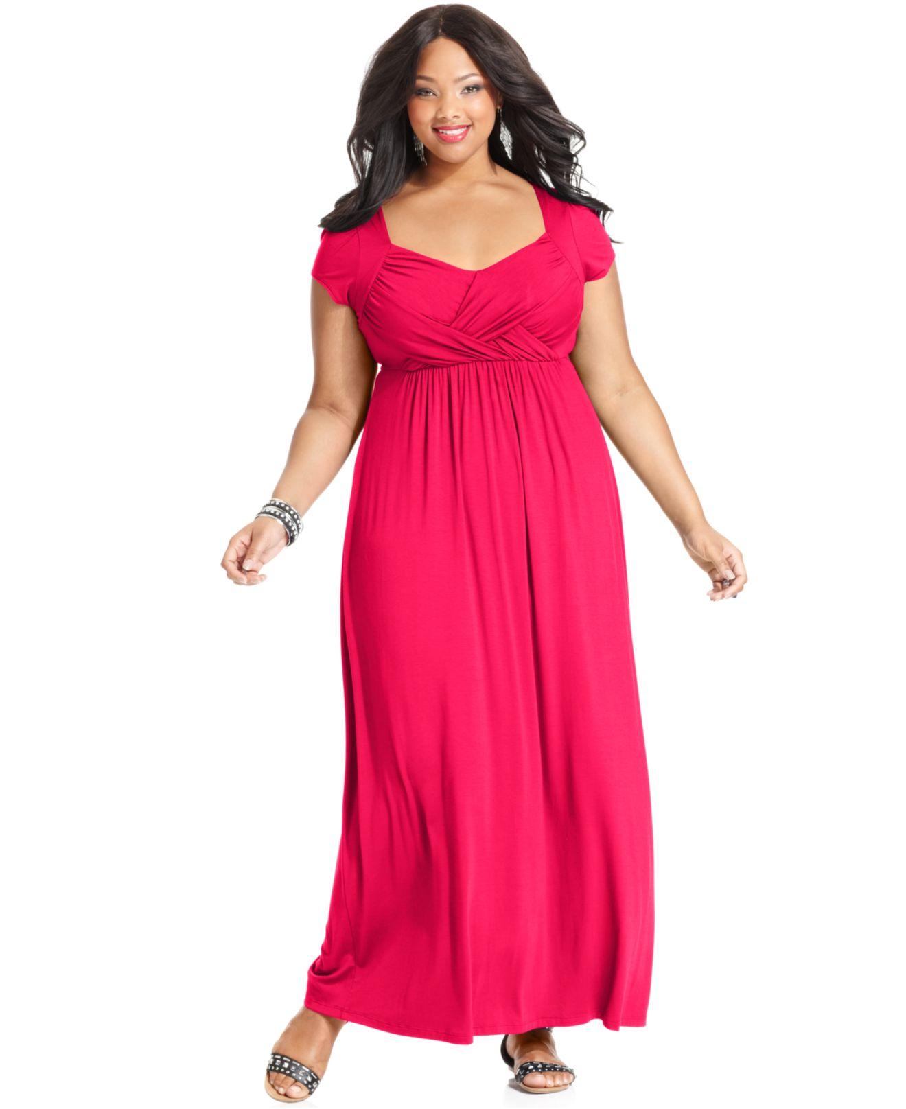 Plus Size Cap-Sleeve Empire Maxi Dress