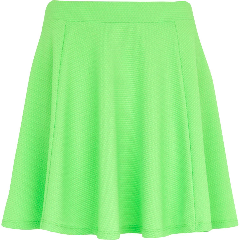 5b24e8186d River Island Bright Green Textured Skater Skirt in Green - Lyst
