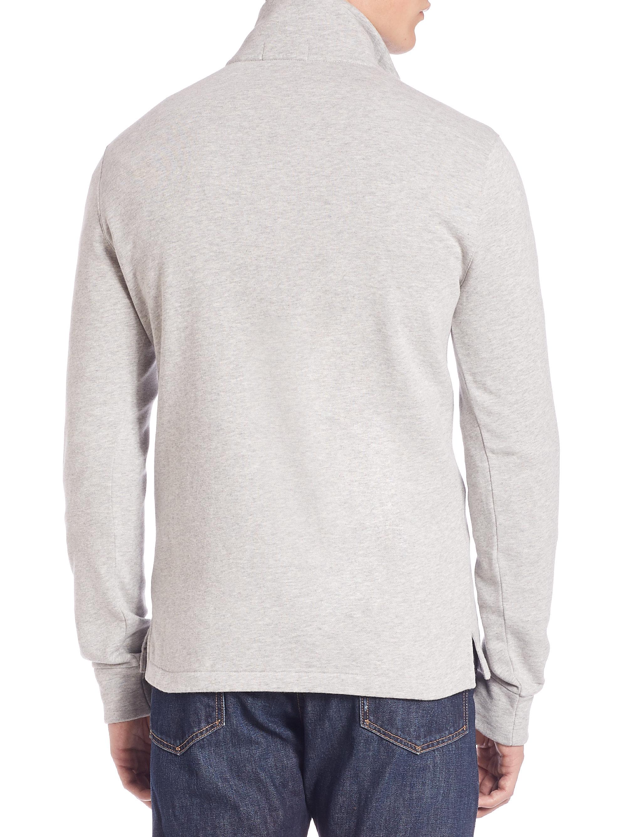 polo ralph lauren fleece mockneck pullover in gray for men. Black Bedroom Furniture Sets. Home Design Ideas
