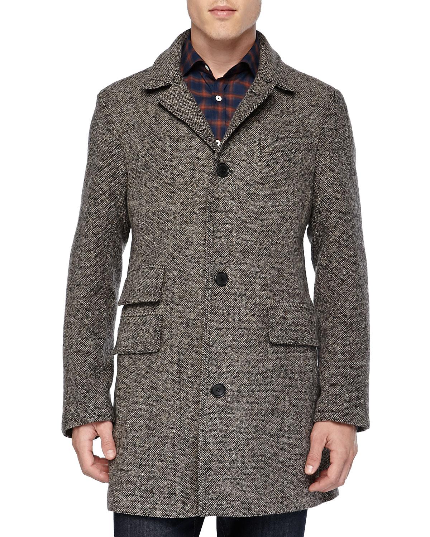 Lyst Billy Reid Tweed Astor Car Coat In Gray For Men