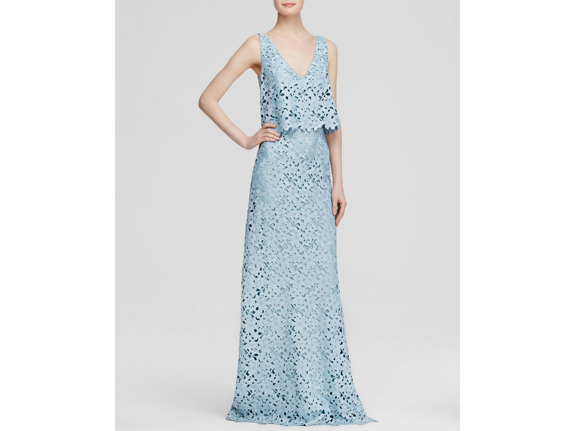 Lyst - Vera Wang Gown - Sleeveless Chemical Lace Bodice Overlay in Blue