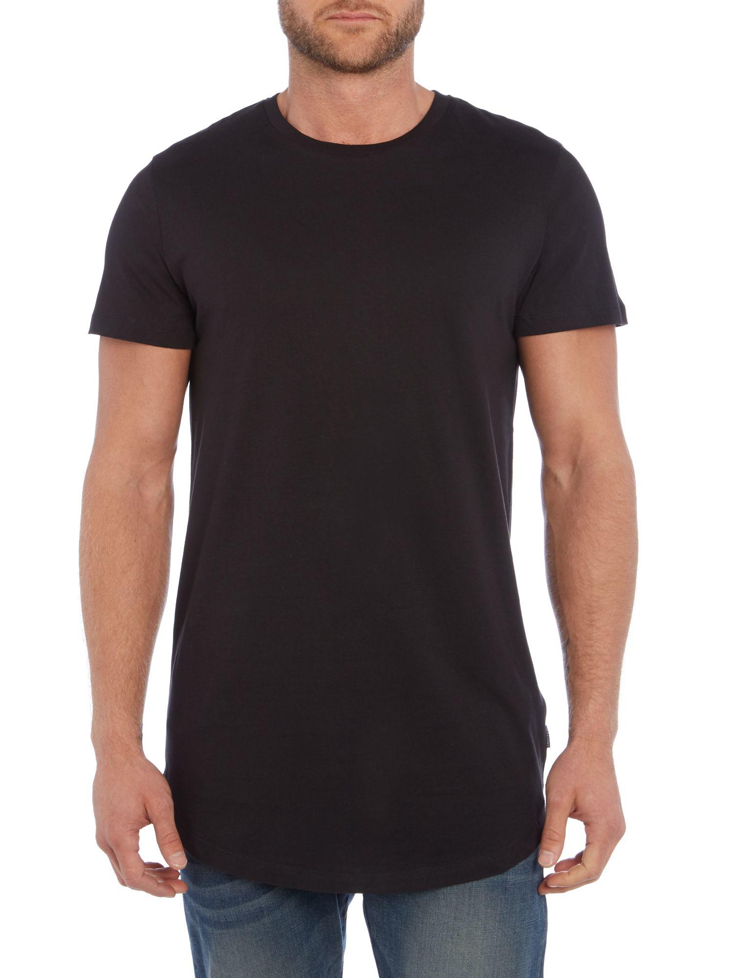 jack jones long line plain short sleeve t shirt in black. Black Bedroom Furniture Sets. Home Design Ideas