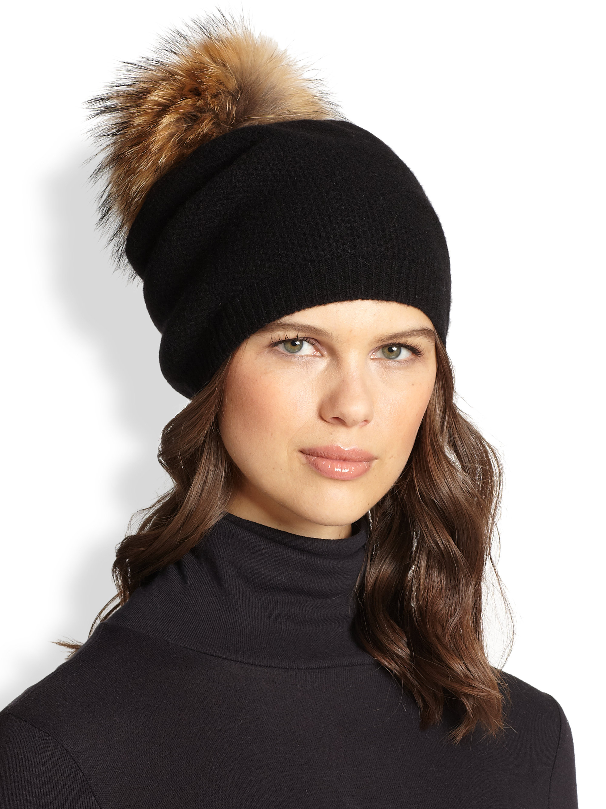 32854be48 Portolano Black Honeycomb Stitched Fur Pom-Pom Hat