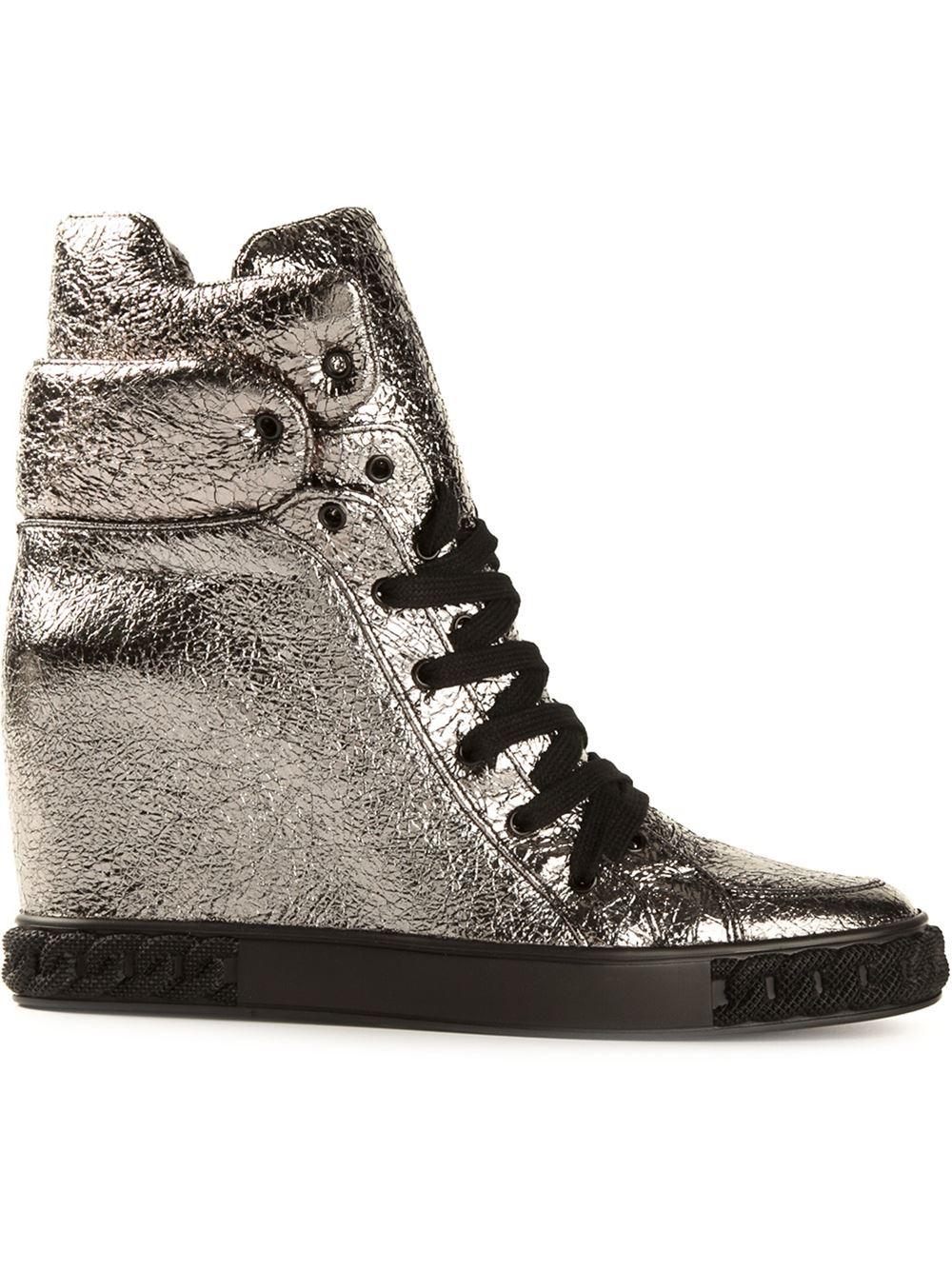 In Hightop Lyst Sneakers Casadei Concealed Metallic Wedge n44xTZ0q