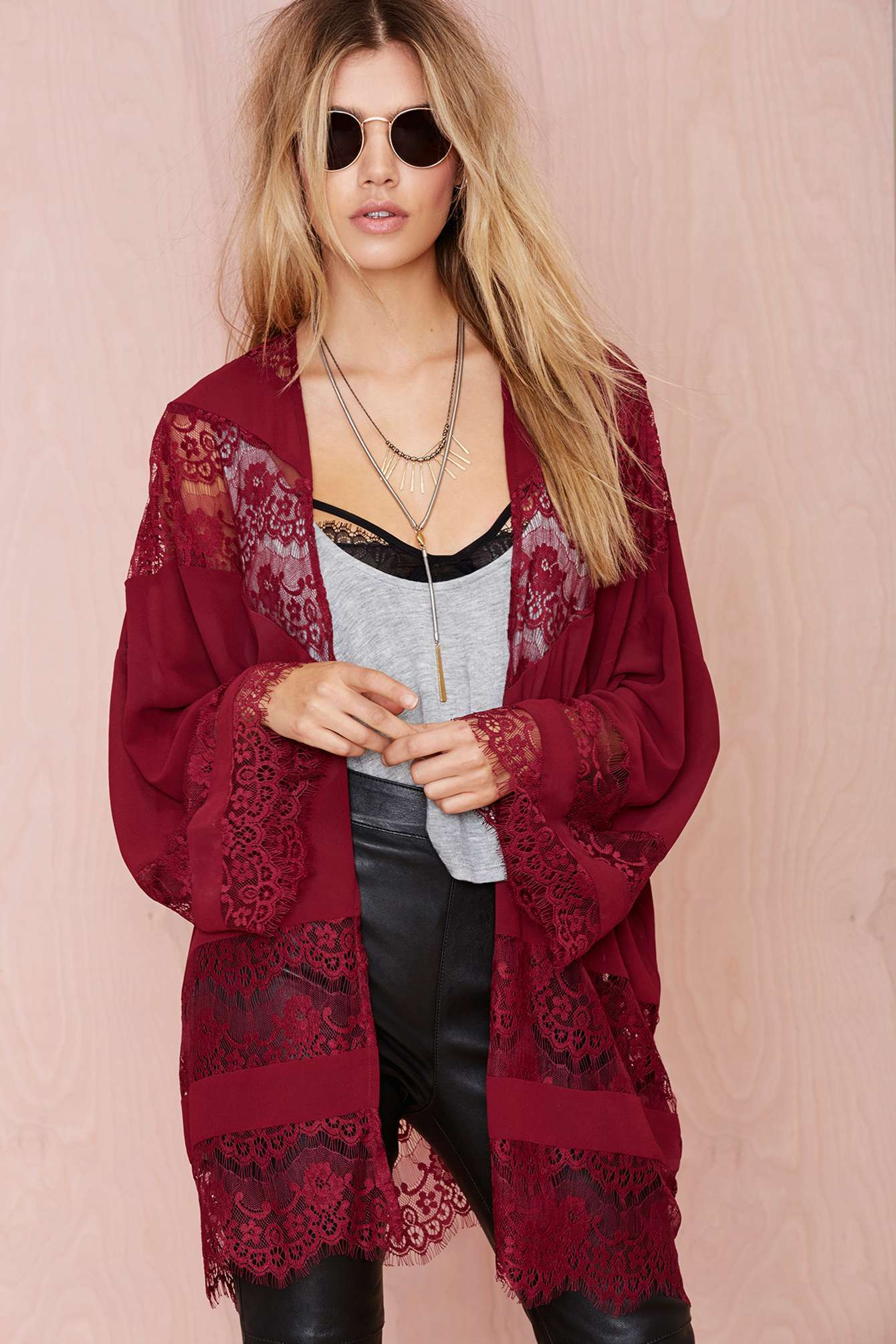 Nasty gal Sheer Caress Lace Kimono in Red | Lyst