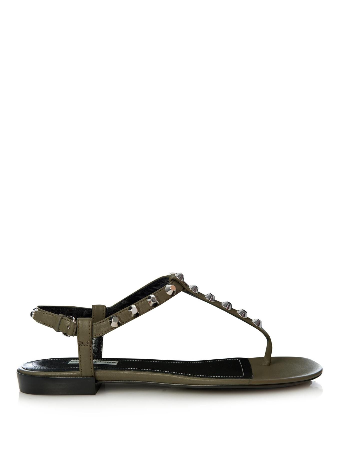 Balenciaga Arena Studded Flat Sandals In Khaki Natural