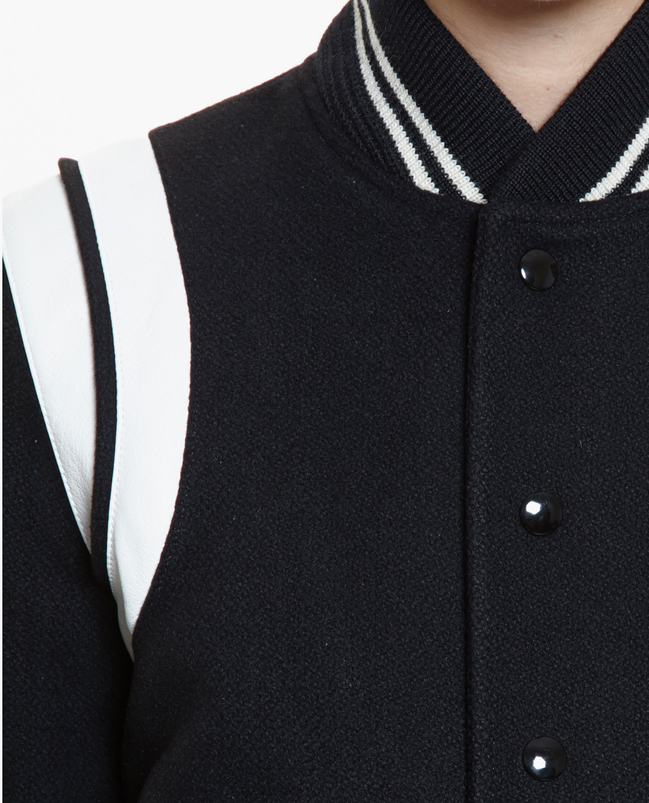 d94b4b377 Saint Laurent Teddy Leather-Trimmed Wool Varsity Jacket in Black - Lyst