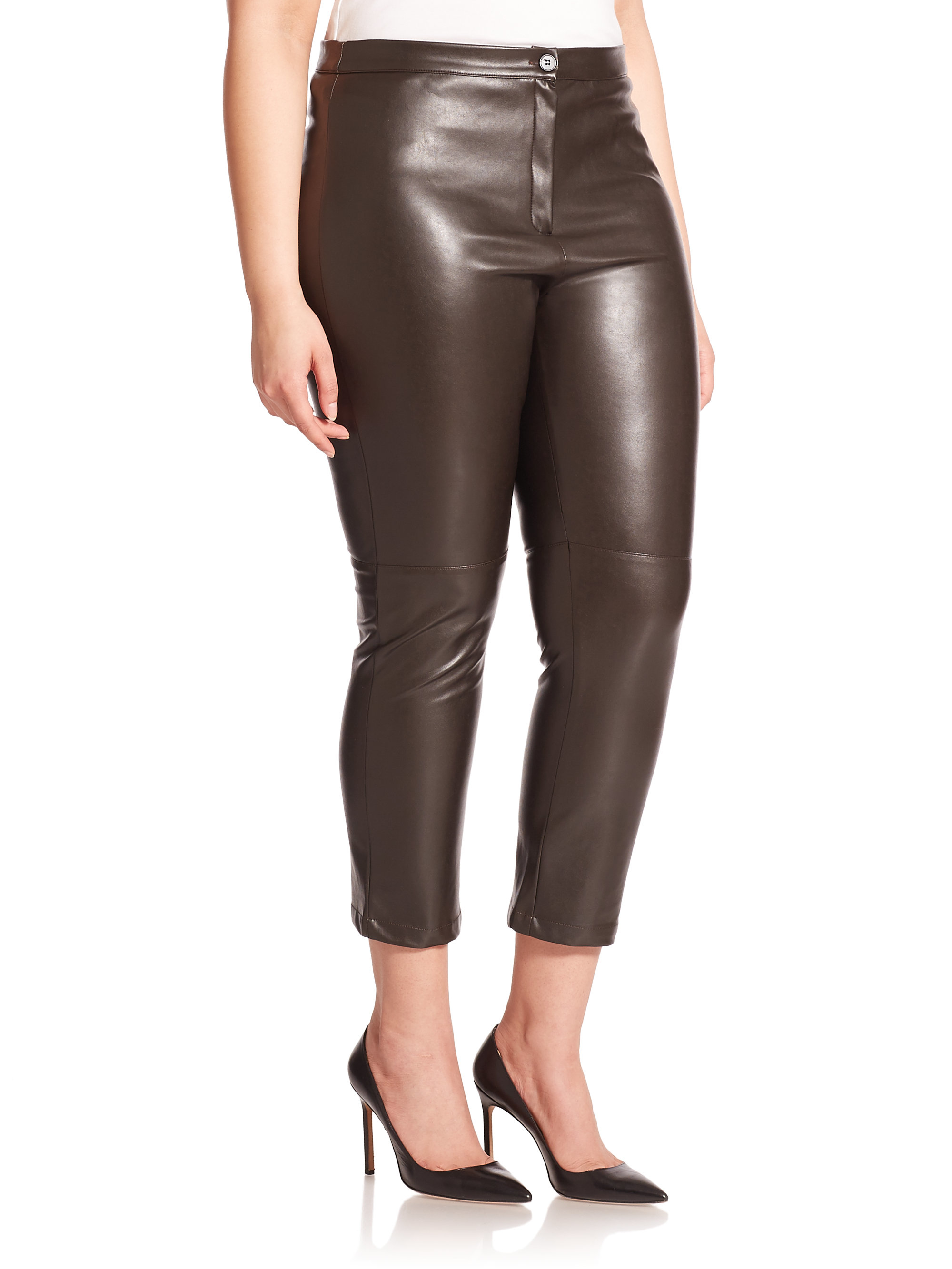 how to wear brown leather pants