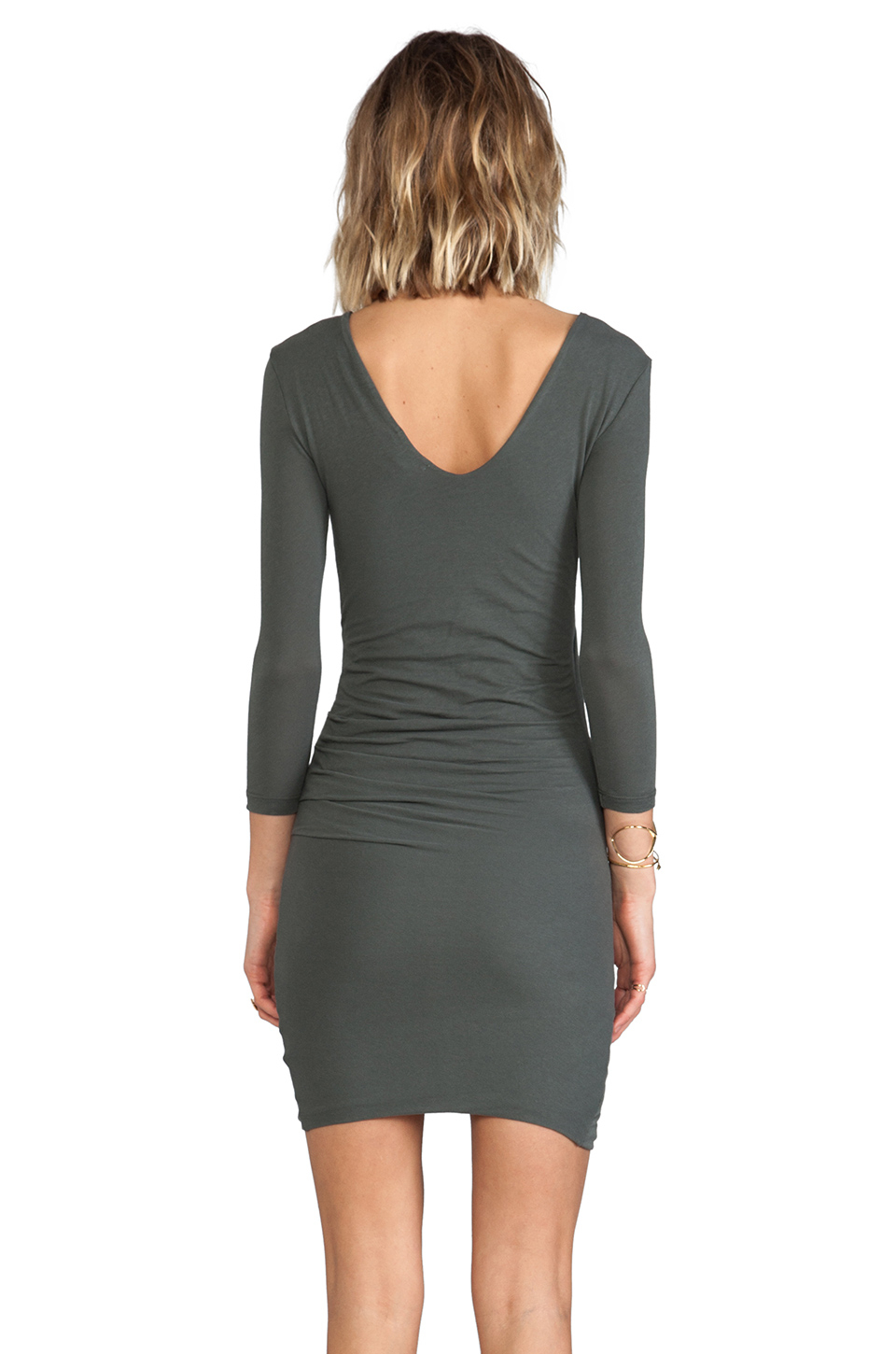 James Perse Skinny Wrap Tuck Dress In Forest Green Green