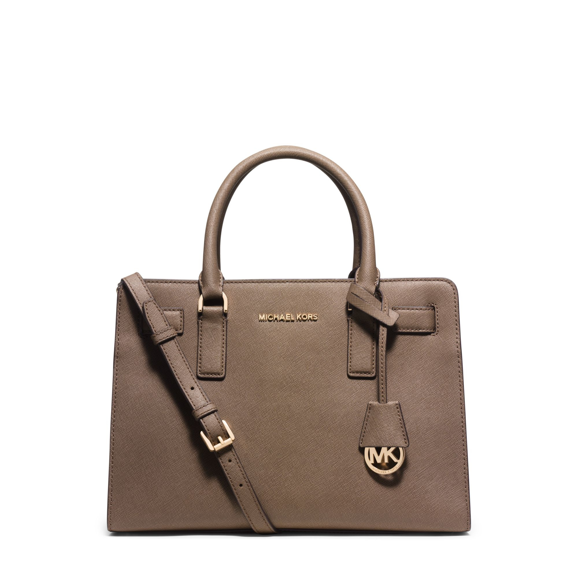 michael kors dillon saffiano leather satchel in brown lyst. Black Bedroom Furniture Sets. Home Design Ideas
