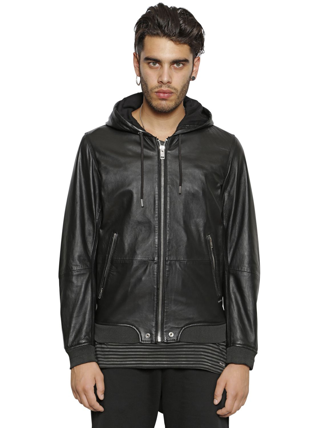 Diesel Hooded Nappa Leather Bomber Jacket in Black for Men | Lyst