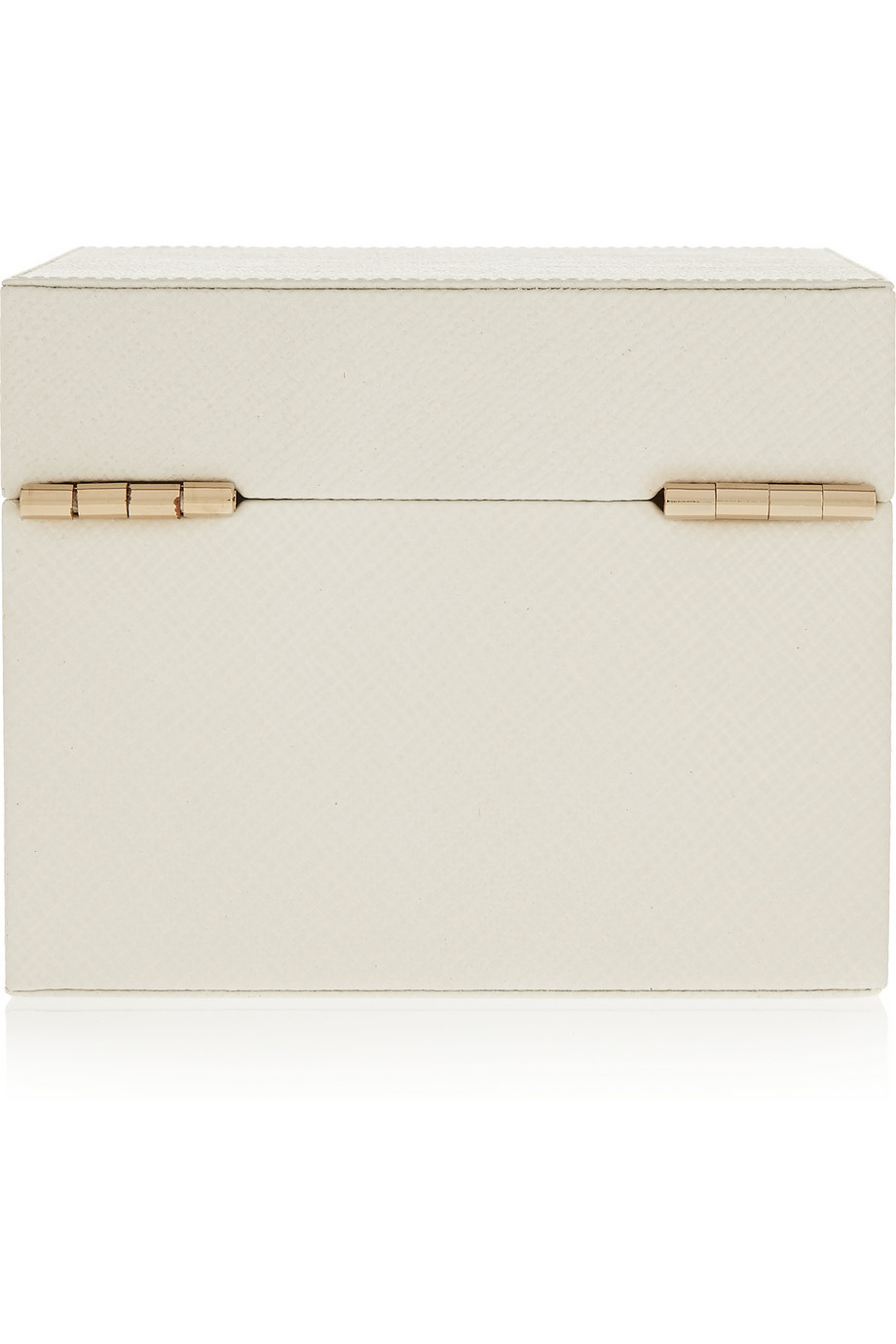 dc7cd22171e9 Lyst - Smythson Panama Mini Textured-Leather Jewelry Box in White