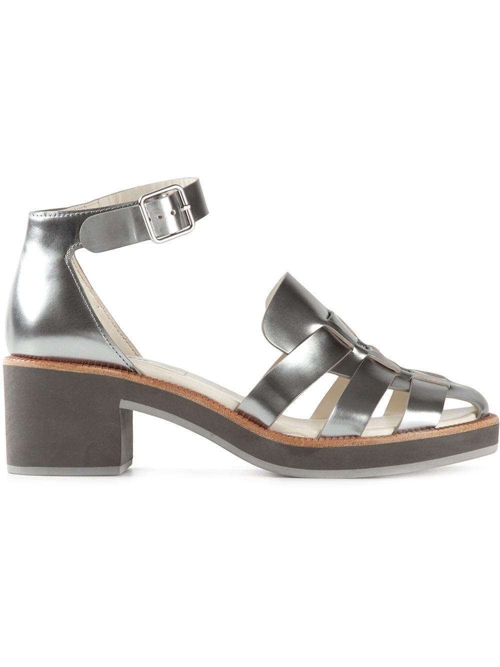 Jil Sander Navy Block Heel Metallic Sandals In Silver