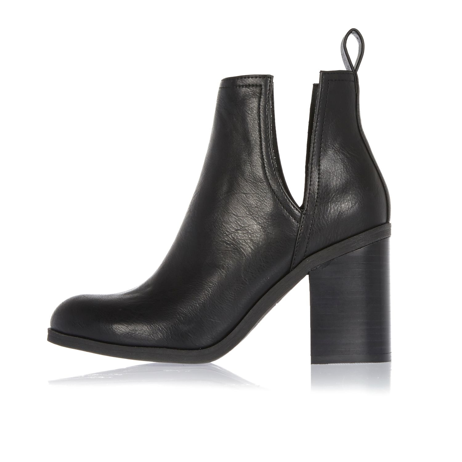 Black Cut Out Ankle Boots River Island