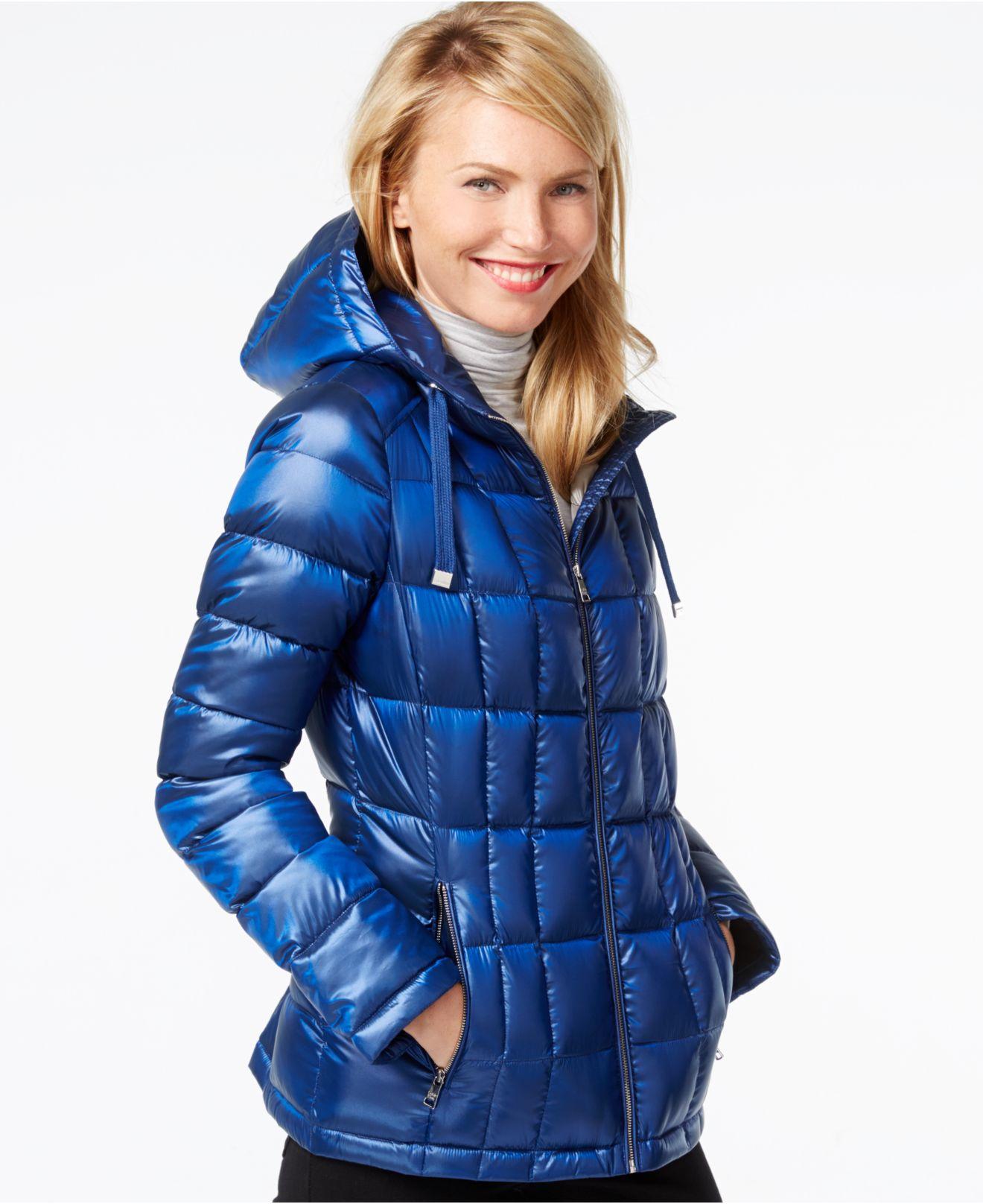 Calvin klein Petite Packable Hooded Puffer Jacket in Blue | Lyst