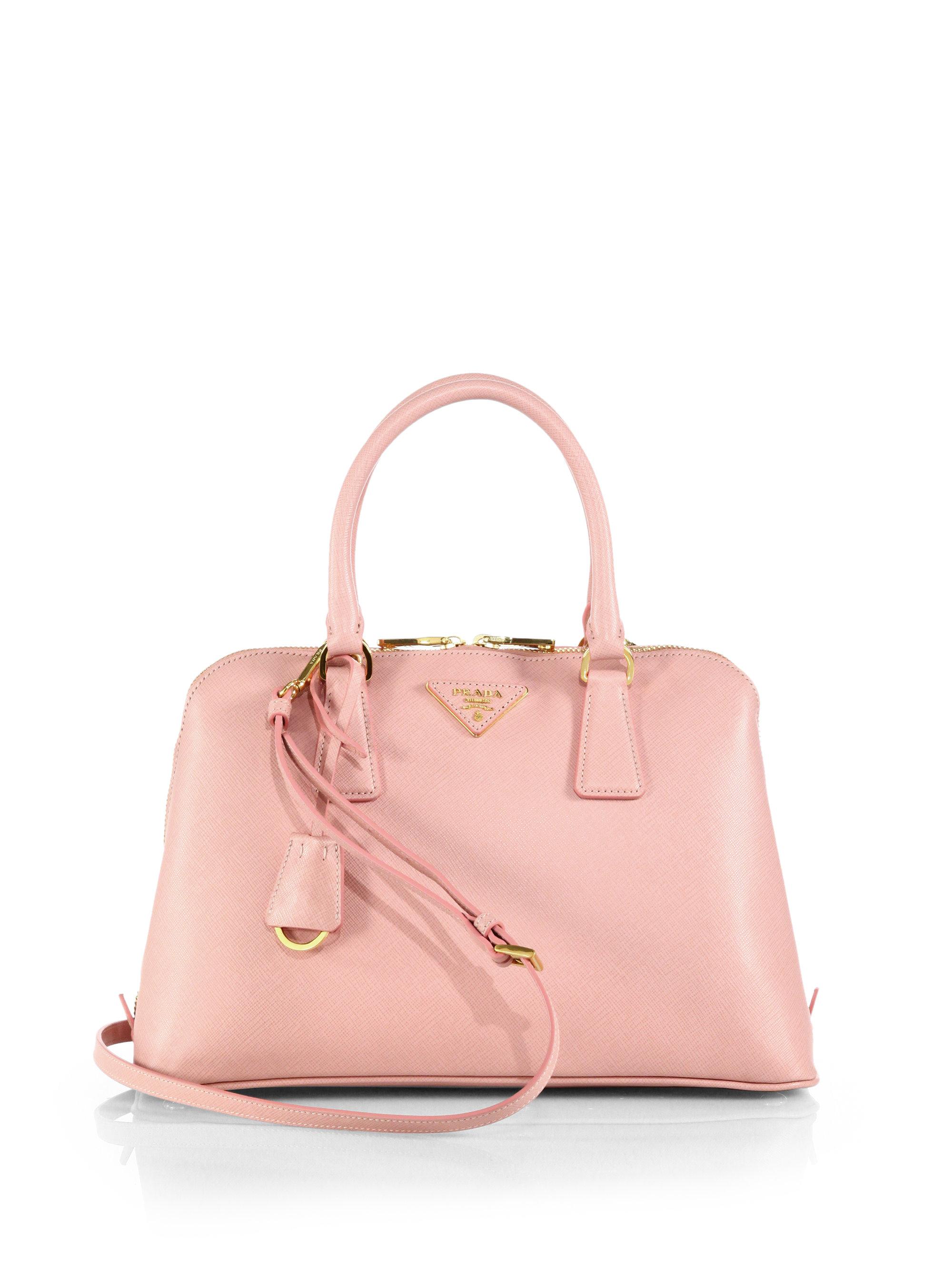 e7c3967ecaff Lyst - Prada Saffiano Lux Small Promenade in Pink