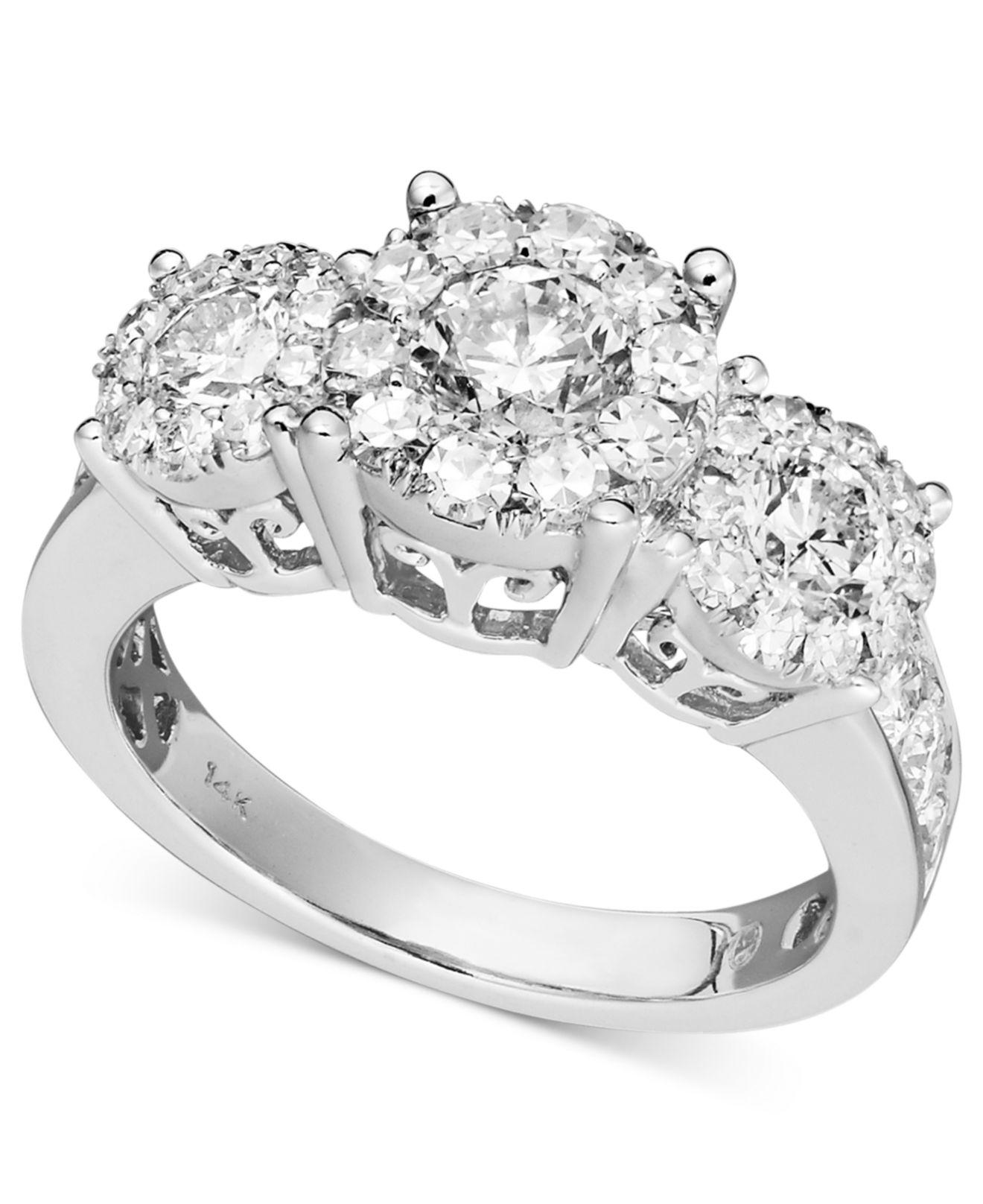 Macy's Diamond Engagement Ring In 14k White Gold (1-1/2 Ct