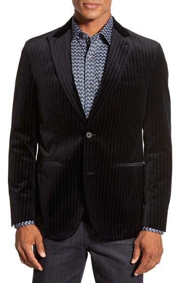 Flynt Classic Fit Pinstripe Sport Coat in Black for Men | Lyst