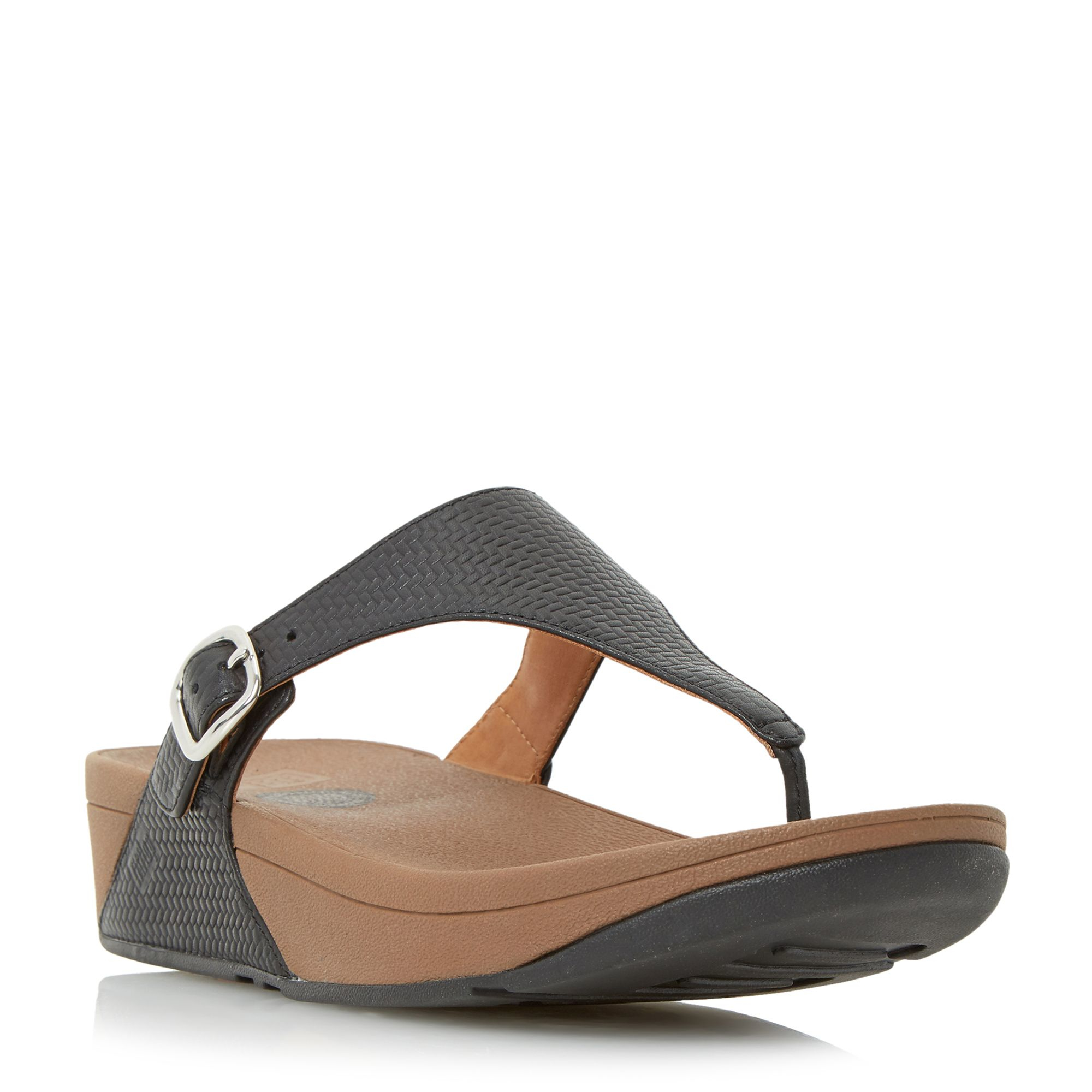 910ae5921a07 Fitflop The Skinny Buckle Detail Wedge Sandals in Gray