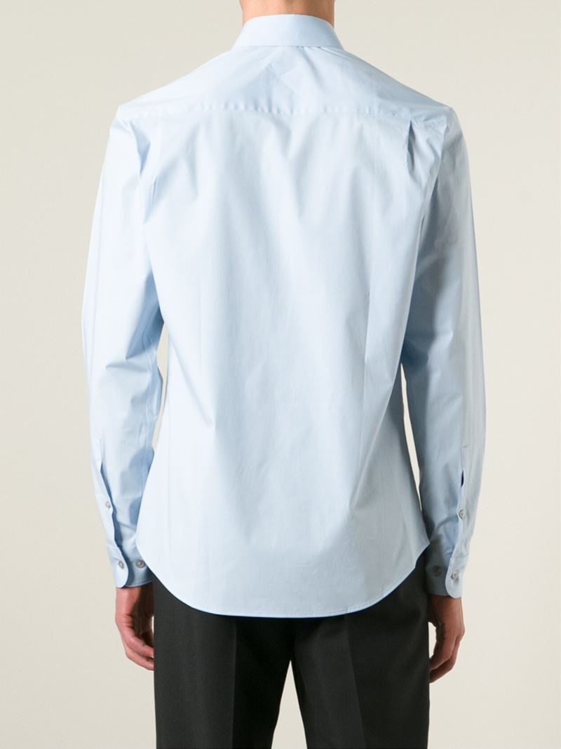Lyst Z Zegna Point Collar Shirt In Blue For Men