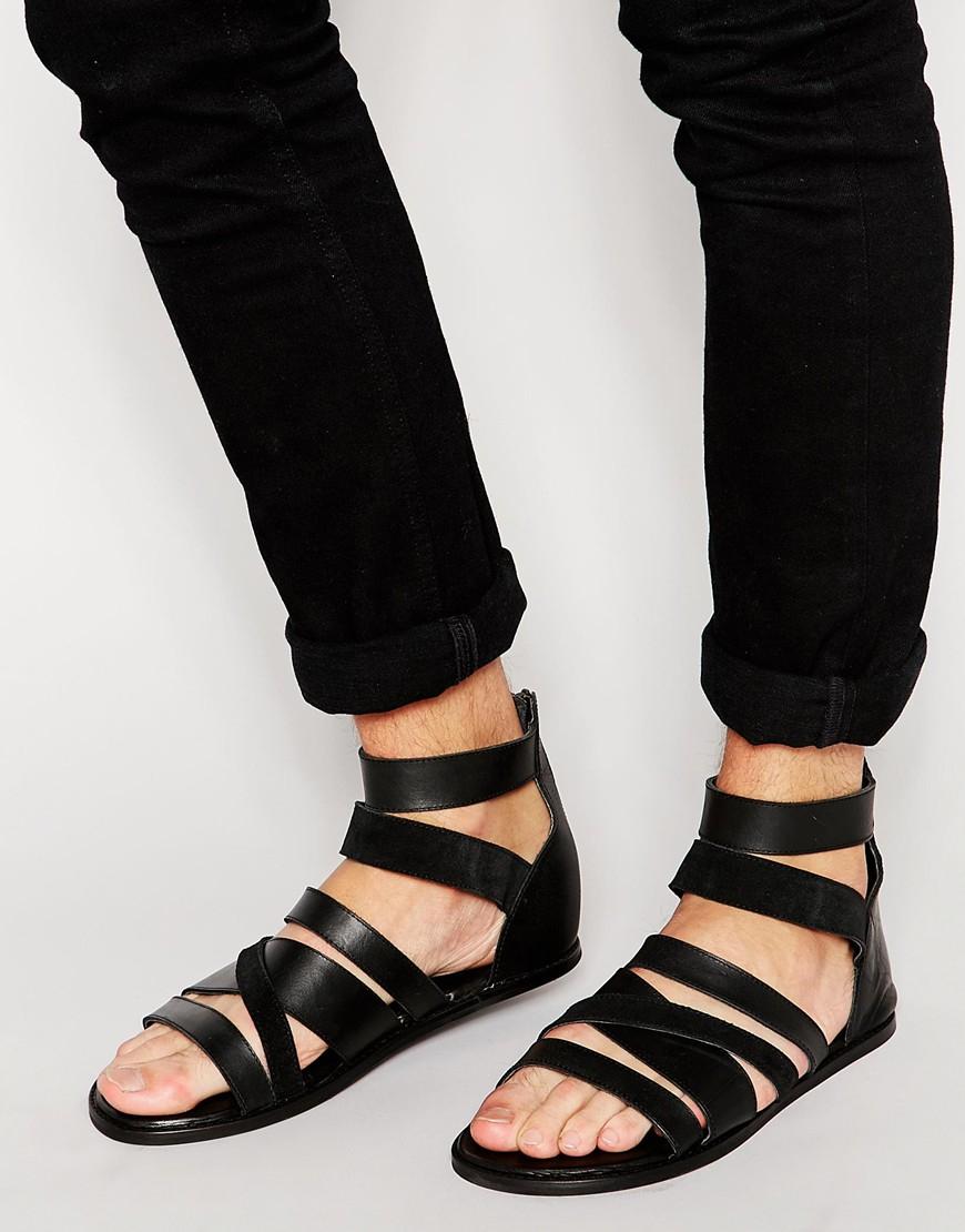 ASOS Gladiator Sandals In Black Leather