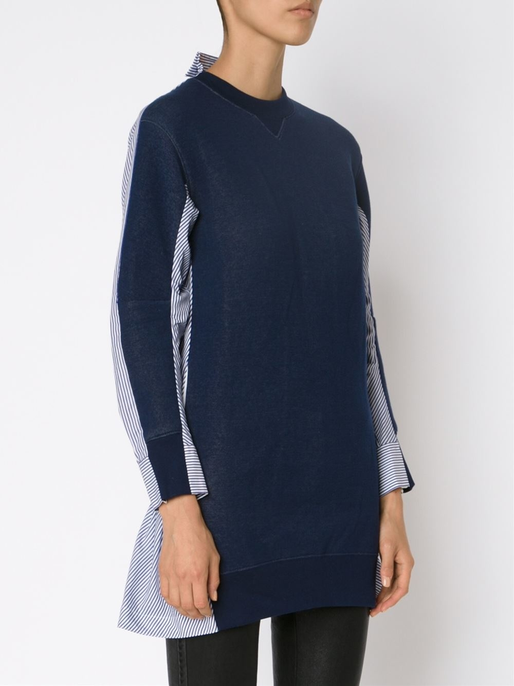 Sacai sweater front shirt dress in blue lyst for Dress shirt with sweater